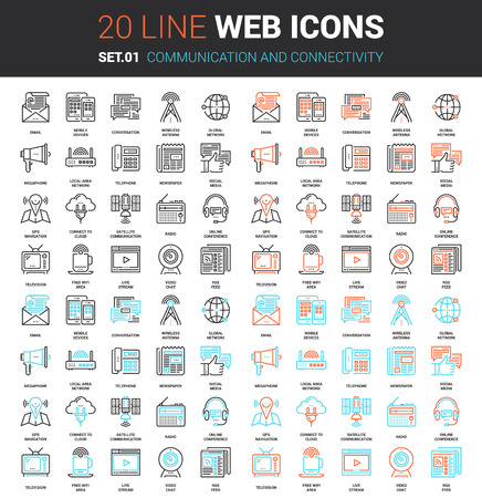 pixel perfect: Vector set of communication and connectivity line web icons. Each icon with adjustable strokes neatly designed on pixel perfect 64X64 size grid. Fully editable and easy to use.