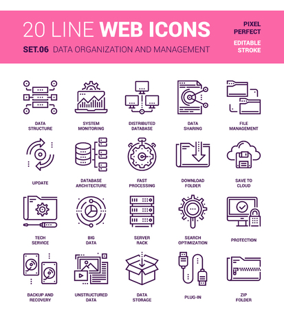 plug in: Vector set of data organization and management line web icons. Each icon with adjustable strokes neatly designed on pixel perfect 64X64 size grid. Fully editable and easy to use.