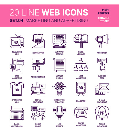 designed: Vector set of marketing and advertising line web icons. Each icon with adjustable strokes neatly designed on pixel perfect 64X64 size grid. Fully editable and easy to use.