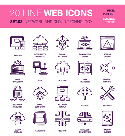 pixel perfect: Vector set of network and cloud technology line web icons. Each icon with adjustable strokes neatly designed on pixel perfect 64X64 size grid. Fully editable and easy to use.