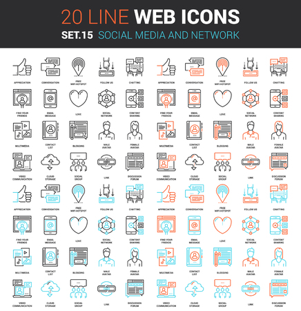 set of social media and network line web icons. Each icon with adjustable strokes neatly designed on pixel perfect 64X64 size grid. Fully editable and easy to use.