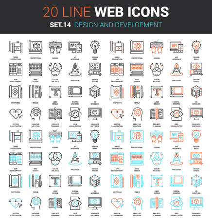set of design and development line web icons. Each icon with adjustable strokes neatly designed on pixel perfect 64X64 size grid. Fully editable and easy to use.