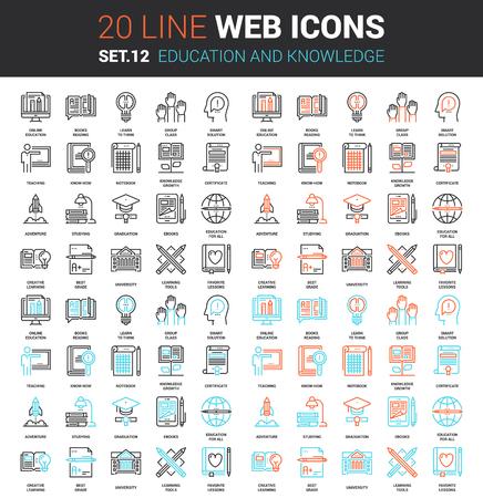 conjunto de la educación y el conocimiento de línea de iconos de la web. Cada icono con trazos ajustables cuidadosamente diseñado en píxeles perfecta cuadrícula de tamaño 64x64. Totalmente editable y fácil de usar.