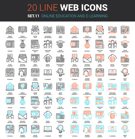 set of online education and e-learning line web icons. Each icon with adjustable strokes neatly designed on pixel perfect 64X64 size grid. Fully editable and easy to use.