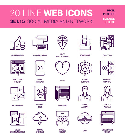 designed: set of social media and network line web icons. Each icon with adjustable strokes neatly designed on pixel perfect 64X64 size grid. Fully editable and easy to use.