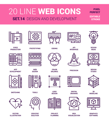 pixel perfect: set of design and development line web icons. Each icon with adjustable strokes neatly designed on pixel perfect 64X64 size grid. Fully editable and easy to use.