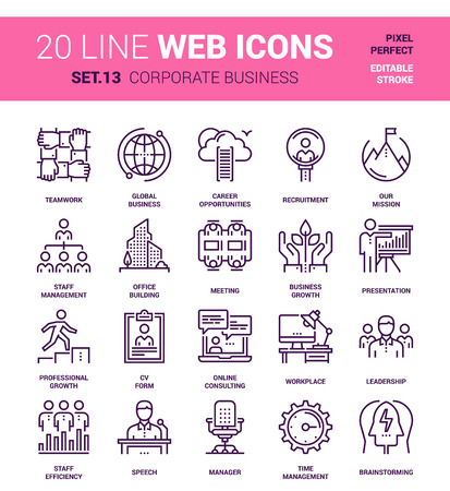 set of corporate business line web icons. Each icon with adjustable strokes neatly designed on pixel perfect 64X64 size grid. Fully editable and easy to use. Ilustração