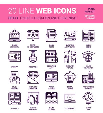 experimento: Vector conjunto de educación y de aprendizaje en línea de iconos web en línea. Cada icono con trazos ajustables cuidadosamente diseñado en píxeles perfecta cuadrícula de tamaño 64x64. Totalmente editable y fácil de usar.