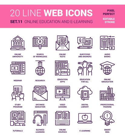 experiments: Vector set of online education and e-learning line web icons. Each icon with adjustable strokes neatly designed on pixel perfect 64X64 size grid. Fully editable and easy to use. Illustration
