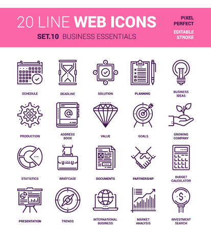 pixel perfect: set of business essentials line web icons. Each icon with adjustable strokes neatly designed on pixel perfect 64X64 size grid. Fully editable and easy to use.
