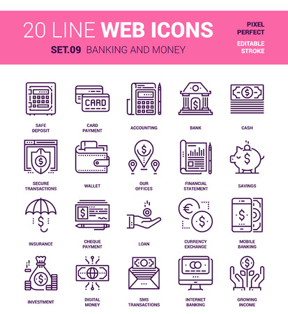 set of banking and money line web icons. Each icon with adjustable strokes neatly designed on pixel perfect 64X64 size grid. Fully editable and easy to use.