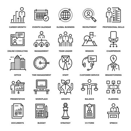 Abstract vector collection of line corporate business icons. Elements for mobile and web applications.