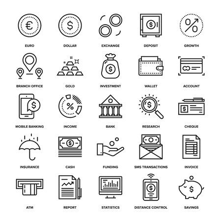 ingresos: Colección de vectores de fondo de la línea de las actividades bancarias y dinero iconos. Elementos para aplicaciones móviles y web.