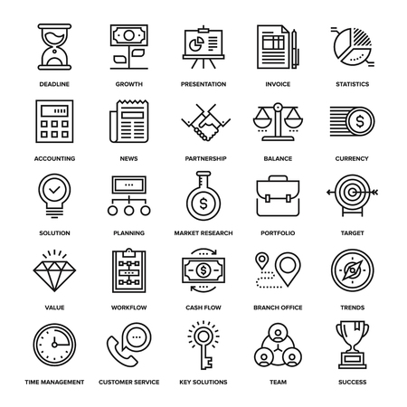 abstract business: Abstract vector collection of line business and finance icons. Elements for mobile and web applications. Illustration