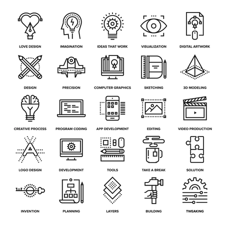 prototyping: Abstract vector collection of line creative process icons. Elements for mobile and web applications.