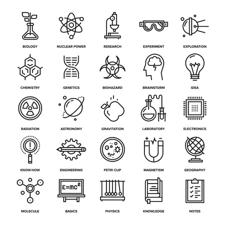 engineering and technology: Abstract vector collection of line research and science icons. Elements for mobile and web applications.