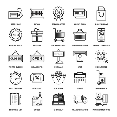 web shopping: Abstract vector collection of line shopping and retail icons. Elements for mobile and web applications. Illustration