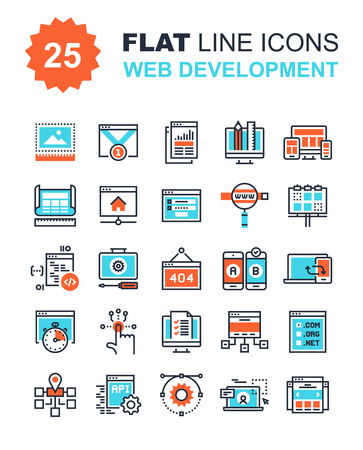 Abstract vector collection of flat line web development icons. Elements for mobile and web applications. Çizim