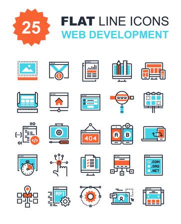 Colección abstracta del vector de la línea plana iconos de desarrollo web. Elementos para aplicaciones móviles y web. Foto de archivo - 57838823