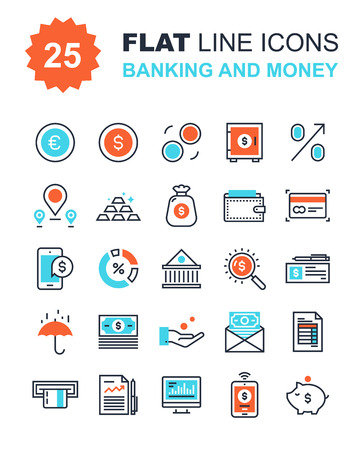 transaction: Abstract vector collection of flat line banking and money icons. Elements for mobile and web applications.