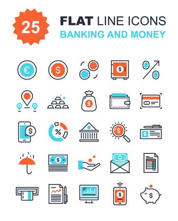 Colección abstracta del vector de la línea plana bancarias y dinero iconos. Elementos para aplicaciones móviles y web.