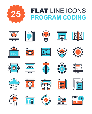 Abstract vector collection of flat line program coding icons. Elements for mobile and web applications. Çizim