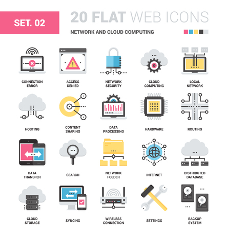 domain: Vector set of network and cloud computing flat web icons. Each icon neatly designed on pixel perfect 64X64 size grid. Fully editable and easy to use.