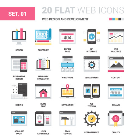 interface menu tool: Vector set of web design and development flat web icons. Each icon neatly designed on pixel perfect 64X64 size grid. Fully editable and easy to use.
