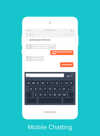 page: Abstract vector illustration of flat chatting mobile UI