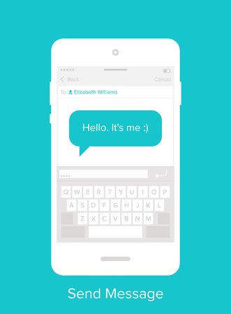 chat: Abstract vector illustration of flat messaging mobile UI