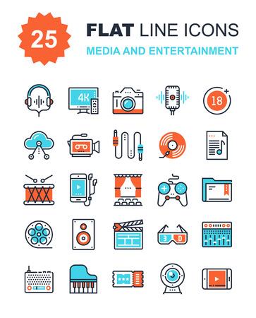 raccolta vettore astratto di mezzi di linea e di intrattenimento icone piane. Elementi per le applicazioni mobile e web.