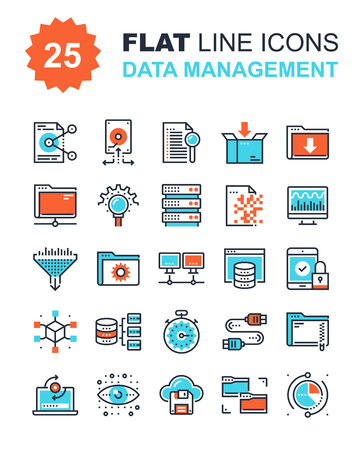 security icon: Abstract vector collection of flat line data management icons. Elements for mobile and web applications.