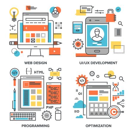set of conceptual flat line illustrations on following themes - web design, UI UX development, programming, optimization