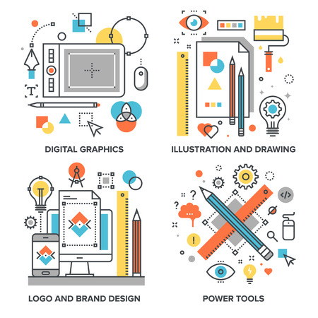 following: set of conceptual flat line illustrations on following themes - digital graphics, illustration and drawing and brand design, power tools Illustration