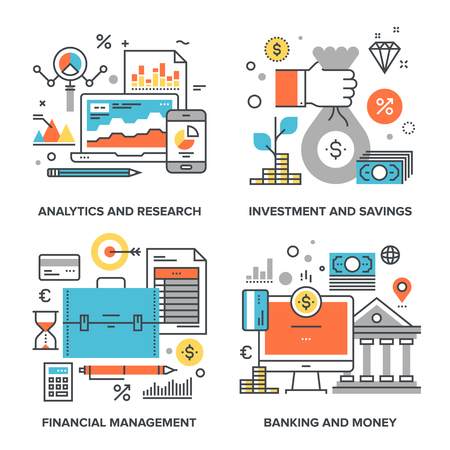 following: set of conceptual flat line illustrations on following themes - analytics and research, investment and savings, financial management, banking and money Illustration