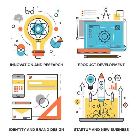set van conceptuele vlakke lijn illustraties op de volgende thema's - innovatie en onderzoek, productontwikkeling, identiteit en brand design, opstarten en new business Vector Illustratie