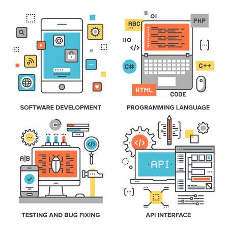 set of conceptual flat line illustrations on following themes - software development, programming language, testing and bug fixing, api interface Imagens