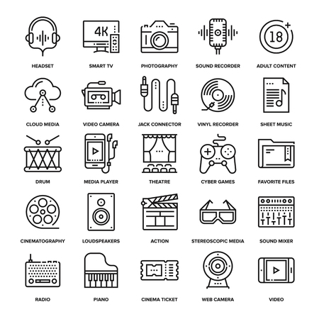 Abstract collection of line media and entertainment icons. Elements for mobile and web applications.