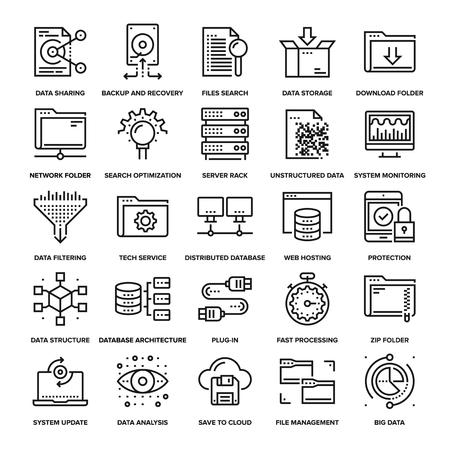 Résumé collection d'icônes de gestion des données en ligne. Eléments pour les applications web et mobiles.