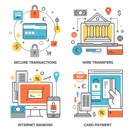 transfers: set of conceptual flat line illustrations on following themes - secure transactions, wire transfers, internet banking, card payment