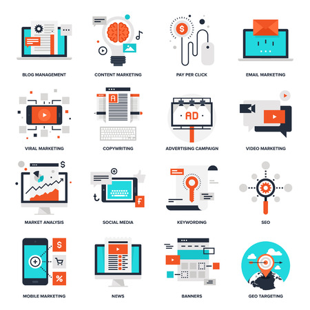 icons: Abstract collection of flat digital marketing icons. Elements for mobile and web applications.