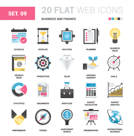 fully editable: Vector set of business and finance flat web icons. Each icon with adjustable strokes neatly designed on pixel perfect 64X64 size grid. Fully editable and easy to use.