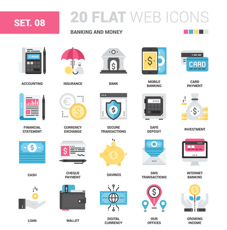 easy money: Vector set of banking and money flat web icons. Each icon with adjustable strokes neatly designed on pixel perfect 64X64 size grid. Fully editable and easy to use. Illustration