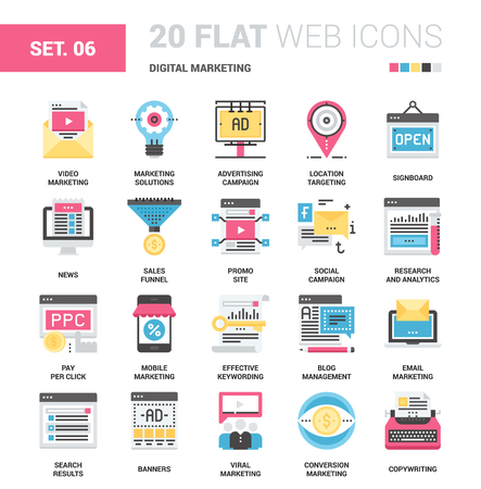 press release: Vector set of digital marketing flat web icons. Each icon with adjustable strokes neatly designed on pixel perfect 64X64 size grid. Fully editable and easy to use.