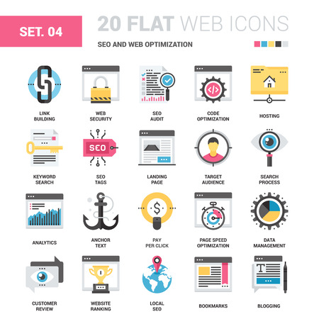 Vector set of SEO and web optimization flat web icons. Each icon with adjustable strokes neatly designed on pixel perfect 64X64 size grid. Fully editable and easy to use.