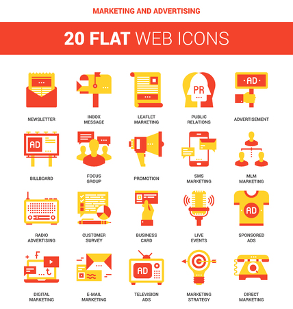 electronic survey: Vector set of marketing and advertising flat web icons. Each icon neatly designed on pixel perfect 64X64 size grid. Fully editable and easy to use. Illustration