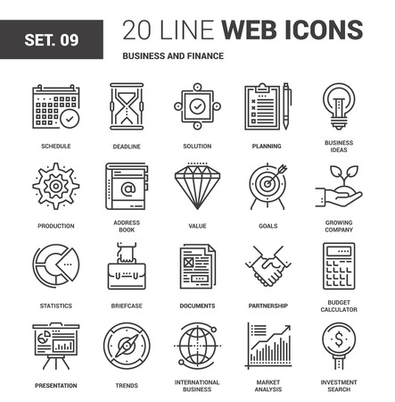 Vector set of business and finance line web icons. Each icon with adjustable strokes neatly designed on pixel perfect 64X64 size grid. Fully editable and easy to use. Ilustração