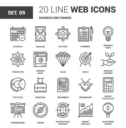 Vector set van bedrijfs en financiën lijn web pictogrammen. Elk pictogram met instelbare strepen netjes ontworpen op pixel perfect 64X64 grootte rooster. Volledig bewerkbaar en makkelijk te gebruiken. Vector Illustratie