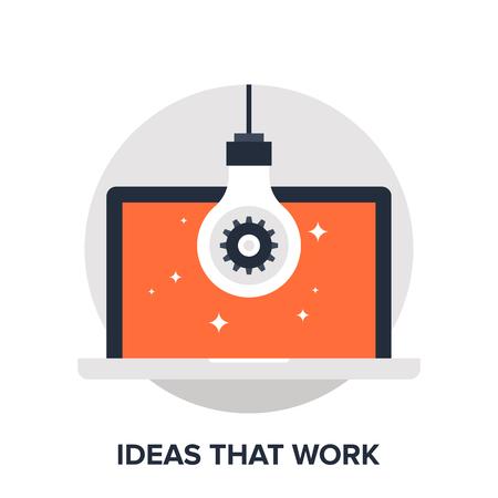 Vector illustration of ideas that work flat design concept. Illustration