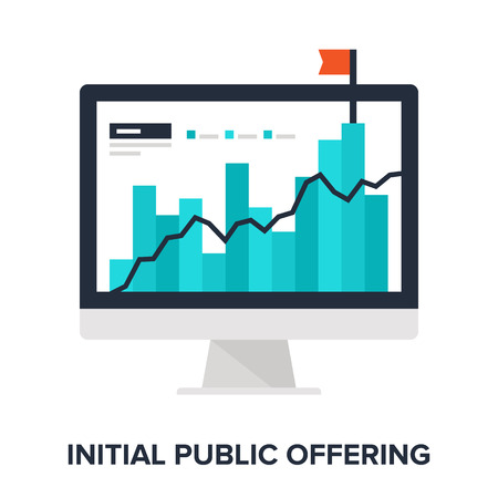 initial: Vector illustration of initial public offering flat design concept. Illustration